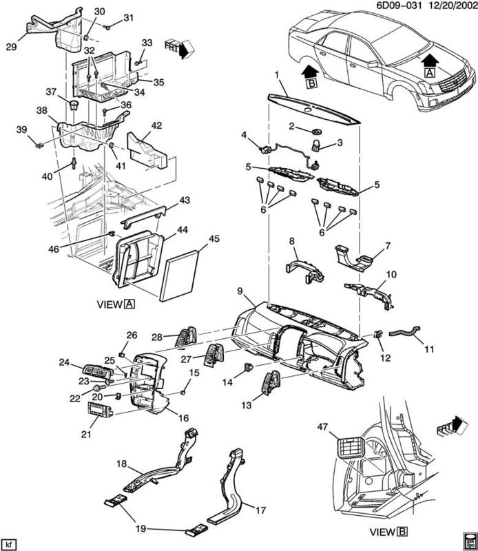 Cadillac Accessories Catalog: 04-07 Cadillac CTS-V Passenger Side Heating & A/C Outlet 25704091