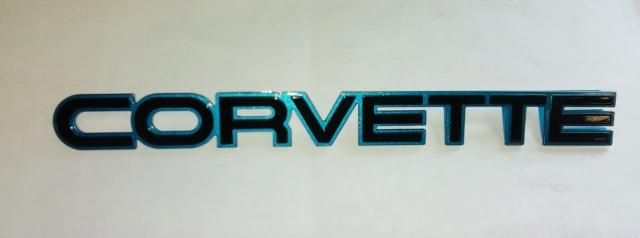84-86 Corvette C4 Rear Bumper Emblem Medium Blue - Contemporary Corvette